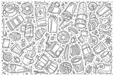 Hand drawn drinking tea set doodle vector illustration background Illustration