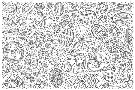 Hand drawn easter set doodle vector illustration background Illustration