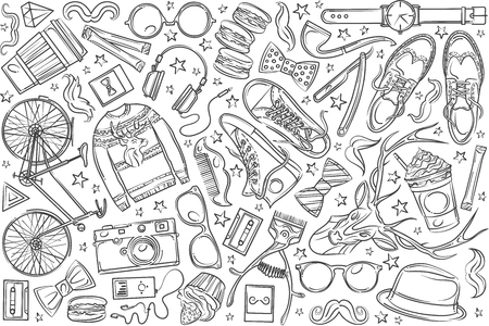 Hand drawn hipster elements and clothes. Pullover, spectacles, hat, camera, bike etc doodle set background Illustration