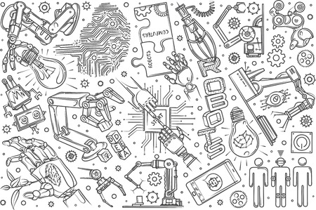 Hand drawn robotics set doodle vector illustration background