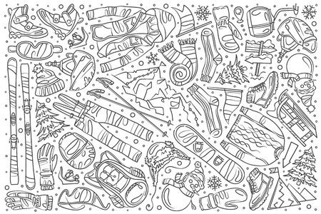 Hand drawn skiing set doodle vector illustration background Ilustração Vetorial