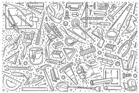 Hand drawn building and construction set doodle vector illustration background Illustration