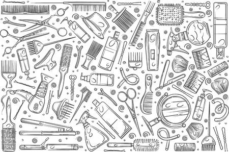 Hand drawn hair salon tools. Equipment for professional hairdresser doodle set background Illustration