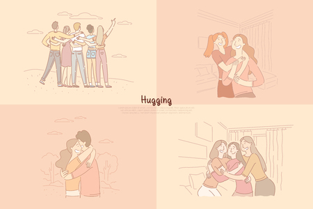 Friends, siblings hugging, sisters spending time together, girlfriends having party, couple dating banner template. Friendship, relationship, happiness concept cartoon sketch. Flat vector illustration