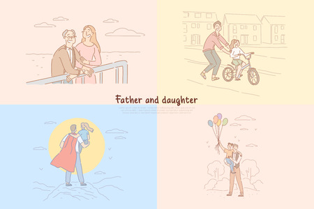 Father and daughter relationship, parent teaching kid riding bicycle, childhood happy moments banner template. Fatherhood, parenthood, family time concept cartoon sketch. Flat vector illustration