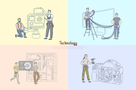 Technicians repairing electronics, technical equipment repairman service center, camera details checking banner template. Modern technology engineering concept cartoon sketch. Flat vector illustration Stock Illustratie