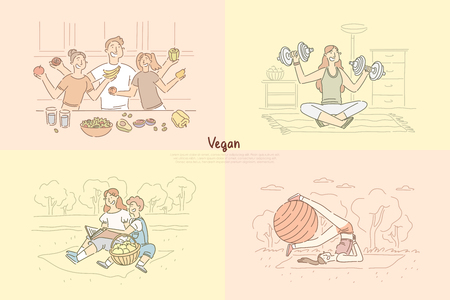 Friends cooking vegetarian meal, woman practicing pilates on nature, children on picnic, lady working out banner. Family healthy lifestyle concept cartoon sketch. Flat vector illustration