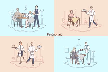 Personale del ristorante, cameriere del bar e cameriera che serve, clienti che fanno l'ordine del cibo, coppia seduta al banner del tavolo della caffetteria. Abbozzo del fumetto di concetto di servizio culinario e catering. Illustrazione vettoriale piatta