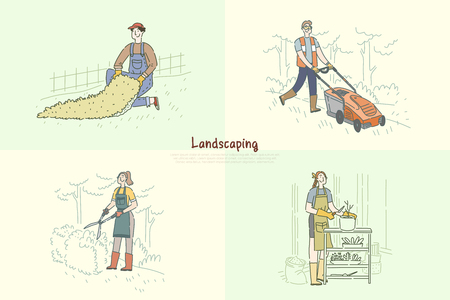 Gardener mowing lawn, handyman installing artificial grass, woman planting flowers, trimming bush banner. Landscaping, greenery, garden maintenance concept cartoon sketch. Flat vector illustration Stock Illustratie