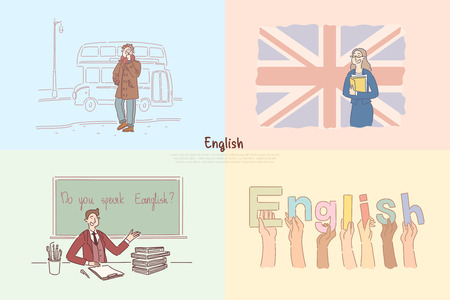 English classes, Great Britain sightseeing tour, excursion for children, students exchange program banner. Language online course, e-learning concept cartoon sketch. Flat vector illustration Çizim