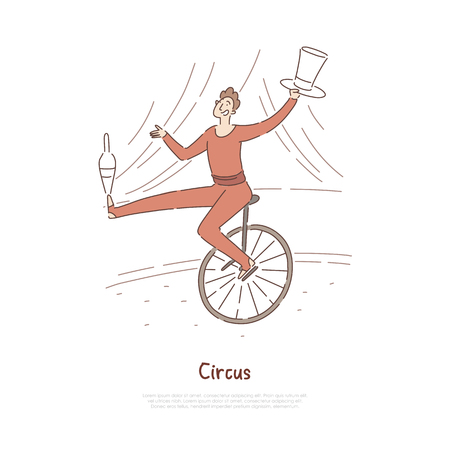 Zirkusartist, Schauspieler im Karnevalskostüm, der Tricks zeigt, Jongleur, Akrobatausgleich, Einradbanner reiten. Leistung, Konzeptkarikaturskizze der Unterhaltungsindustrie. Flache Vektorillustration