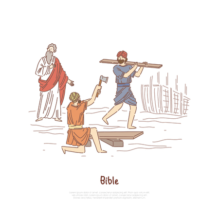 Noah building ark myth, legend, Bible story plot, saint biblical characters, people constructing ship banner template. Great flood narrative concept cartoon sketch. Flat vector illustration