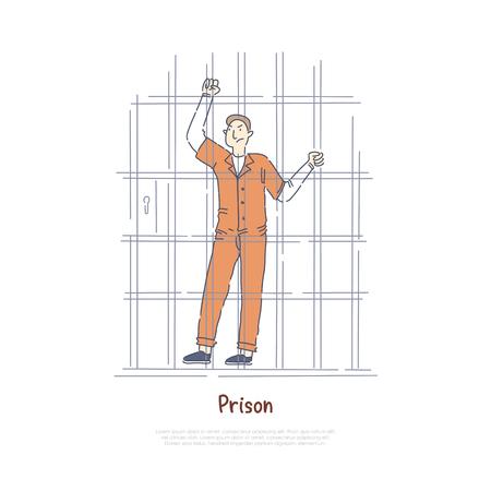 Prisionero tras las rejas, preso en la celda de la cárcel, hombre sentenciado con mono naranja, pancarta de prisión penal. Esbozo de dibujos animados de concepto de penitenciaría, justicia y castigo. Ilustración vectorial plana