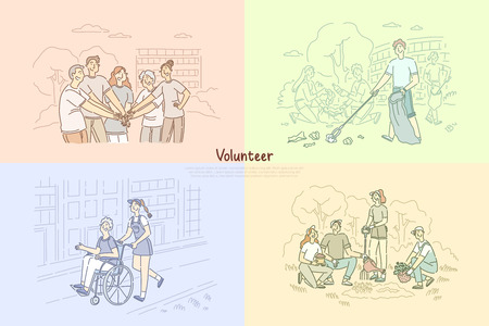 Volunteer group, social workers planting trees, cleaning park area, caregivers helping senior people banner template. Charity, donation, support concept cartoon sketch. Flat vector illustration