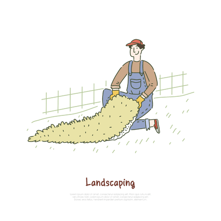 Gardener installing artificial lawn, turf grass rug for football field, landscaper working in park, yard banner template. Landscaping, greenery service concept cartoon sketch. Flat vector illustration Banque d'images - 122860801