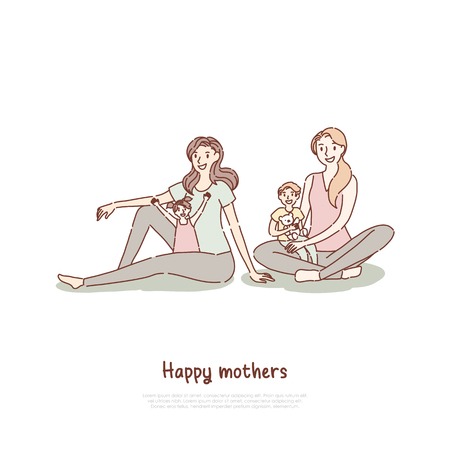 Happy mothers with children at yoga class, son sitting in mom lap, mommy spending time with kid banner template. Motherhood, parenthood, babysitting concept cartoon sketch. Flat vector illustration Illustration
