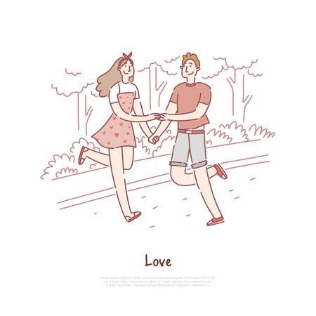 Jeune couple datant, joyeux garçon et fille marchant, se promenant dans le parc, petit ami et petite amie tenant le modèle de bannière par la main. Amour chez les adolescentes, croquis de dessin animé de concept de romance. Illustration vectorielle plane Vecteurs