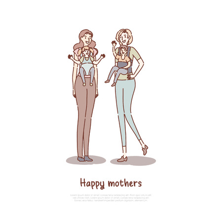 Mother holding children in baby carriers, happy moms friends walking together, girlfriends with kids banner template. Motherhood, parenting, childcare concept cartoon sketch. Flat vector illustration Illustration