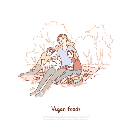 Mother with kids having picnic, mom with son and daughter eating fruits on nature, babysitter reading children book banner. Healthy vegan food concept cartoon sketch. Flat vector illustration