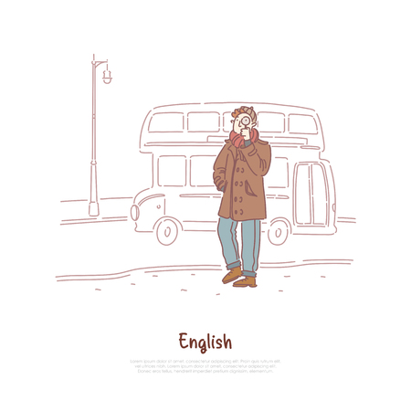 Young man in coat, detective holding magnifier, double decker bus, english culture exploration, travel to London banner. Holiday trip to Great Britain concept cartoon sketch. Flat vector illustration Vector Illustratie
