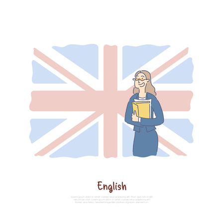 Teacher from Great Britain, native speaker on british flag background, student exchange program banner. Foreign language course, english classes concept cartoon sketch. Flat vector illustration Foto de archivo - 122860829