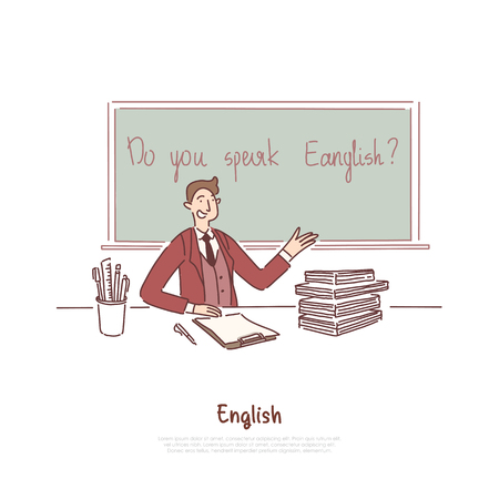 Teacher asking question, do you speak english, foreign job interview, education abroad, language course banner. Citizenship exam, knowledge check concept cartoon sketch. Flat vector illustration Illustration
