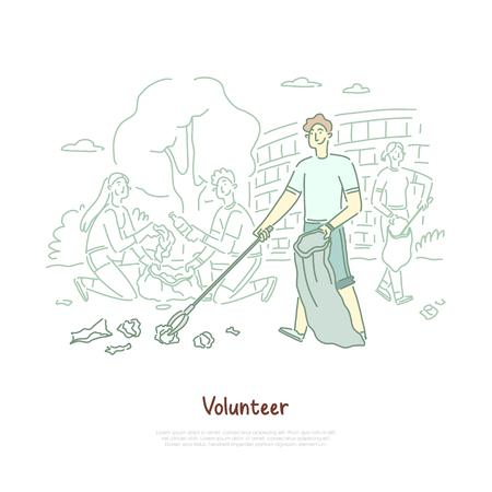 Jeune homme avec sac d'élimination des déchets de nettoyage, protection de l'environnement, bénévolat, réutilisation des déchets, bannière de recyclage. Volontaire heureux ramassant le croquis de dessin animé de concept d'ordures. Illustration vectorielle plane Vecteurs