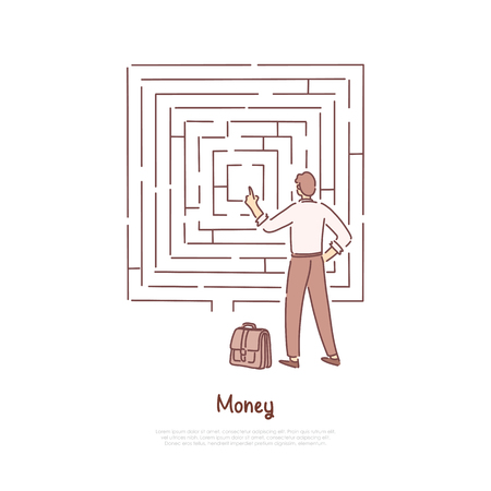 Office worker analysing maze, businessman with suitcase making difficult decision, financial literacy banner. Business challenge, goal achievement concept cartoon sketch. Flat vector illustration