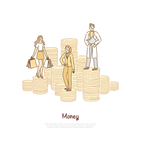 Bank loan, shopper holding bags, successful businesswoman, happy doctor, young scientist, job salary comparison banner. People standing on coin stacks concept cartoon sketch. Flat vector illustration