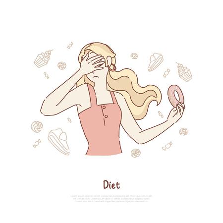 Jeune femme couvre le visage, fille tenant un délicieux beignet, refus de la malbouffe, test de volonté, bannière de régime. Auto-limitation du croquis de dessin animé de concept de produits malsains. Illustration vectorielle plane