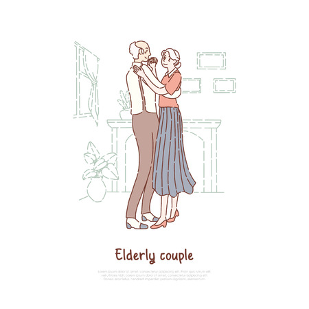 Married elderly couple, old husband and wife waltzing, positive lifestyle, happy retirement, nursing home banner. Pensioners pair dancing together concept cartoon sketch. Flat vector illustration