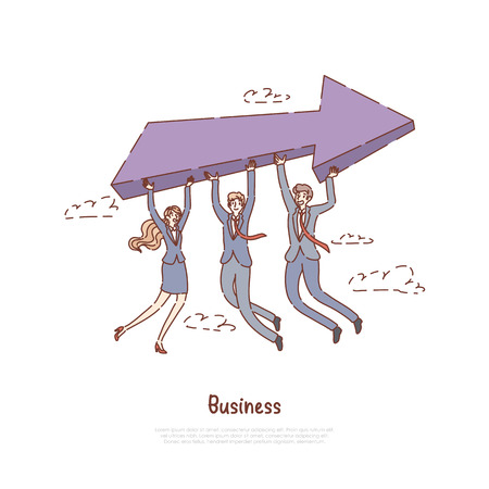 Men and woman in formal clothes holding big arrow, entrepreneurship metaphor, successful partnership, coworking banner. Business development team concept cartoon sketch. Flat vector illustration Ilustrace