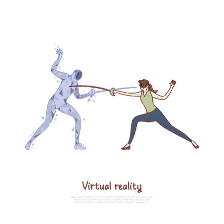 Swordplay simulation, woman in AR headset, fencer hologram holding epee, fighting game, virtual reality banner. VR fencing training, sword duel concept cartoon sketch. Flat vector illustration