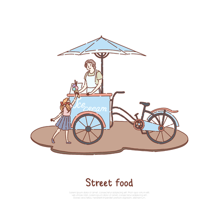 Woman in apron selling sweet dessert, vendor and little child, delicious dairy, summer refreshment, street food banner. Ice cream bicycle, trolley concept cartoon sketch. Flat vector illustration