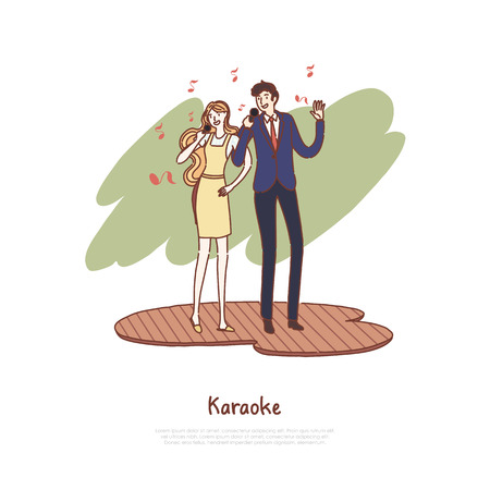 Happy man and woman holding microphones, husband and wife singing duet, musical leisure, date at karaoke club banner. Couple stage performance concept cartoon sketch. Flat vector illustration Иллюстрация