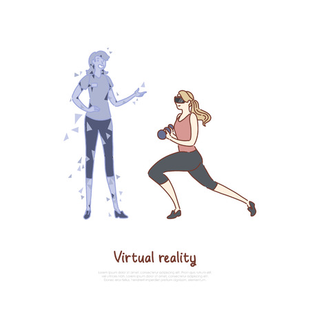Young woman in VR headset doing exercise, coach hologram, girl holding dumbbells, futuristic fitness banner. Sport in virtual reality, training at home concept cartoon sketch. Flat vector illustration Illustration