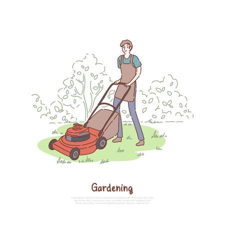 Kerl, der mit Rasenmäher, Landwirtschaft, Rasentrimmservice, Arbeiten im Freien, Landschaftsbau, Gartengerätebanner arbeitet. Glücklicher Gärtner, der Rasenkonzeptkarikaturskizze mäht. Flache Vektorillustration