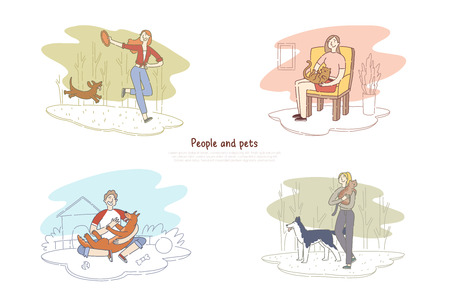 People and pets, man walking with dog, woman playing with cat, human and animals friendship banner template. Puppy, kitten with owner concept cartoon sketch. Flat vector illustration Standard-Bild - 122825398