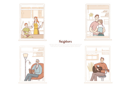 Neighbors in apartment windows, married couple hugging, senior man reading book, young guy playing guitar banner. Multi storey residential building concept cartoon sketch. Flat vector illustration