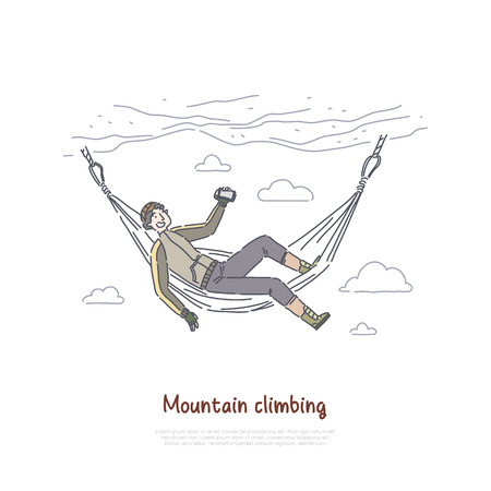 Rock climbing, mountaineering, climber resting in hammock, traveler relaxing in cliff wall, taking video, photo banner. Hill bagging, nature exploring concept cartoon sketch. Flat vector illustration