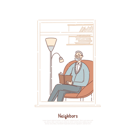 Senior man in window reading book, psychiatrist private office, grandfather neighbor sitting in armchair, making notes banner. Apartment building room concept cartoon sketch. Flat vector illustration Ilustracja