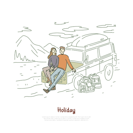 Road trip, couple in love on holiday, honeymoon vacation, backpackers, boyfriend and girlfriend sitting on hood banner. Trekking, hiking, journey concept cartoon sketch. Flat vector illustration