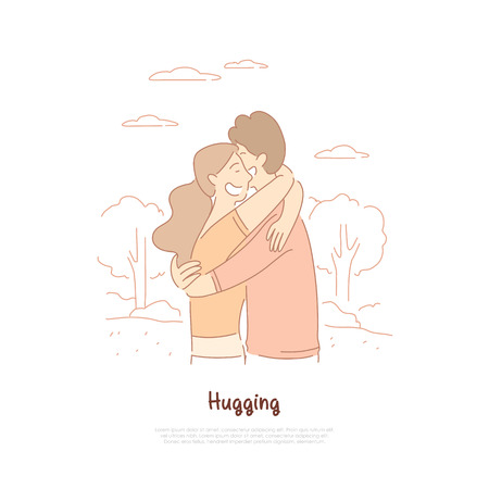 Boyfriend and girlfriend hugging, friends, couple in love having date, wife and husband strolling in park banner template. Dating, romance, happiness concept cartoon sketch. Flat vector illustration