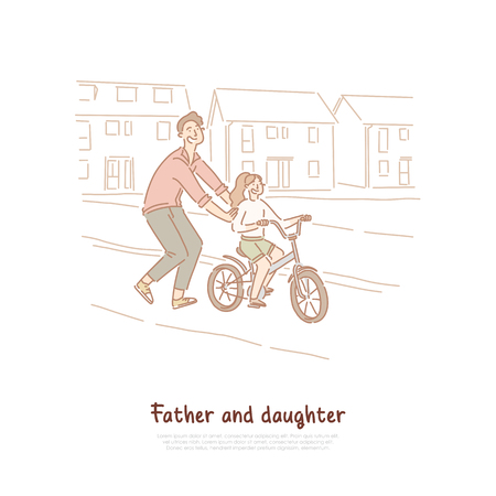 Single father, dad teaching daughter ride bike, family activity, young man and little child, happy parenting banner. Cycling lesson, fatherhood concept cartoon sketch. Flat vector illustration
