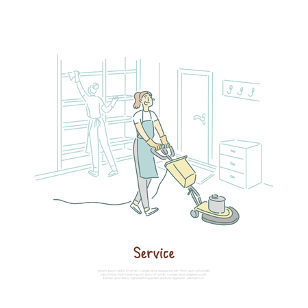 Housekeeping service, female housekeeper cleaning hotel room, apartment, housewife using vacuum cleaner banner. Domestic chores, household, housework concept cartoon sketch. Flat vector illustration