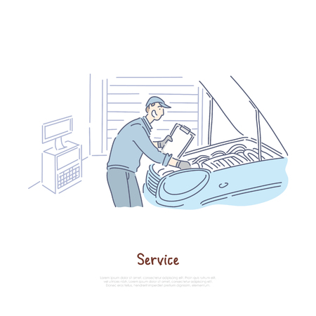 Car repair shop, repairman service, handyman checking automobile engine, workshop auto mechanic banner template. Transport maintenance industry concept cartoon sketch. Flat vector illustration