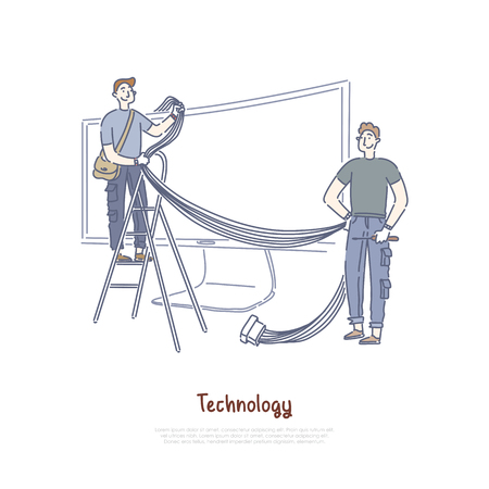 Technicians connecting wires and cables, smart TV technology, Internet television, widescreen monitor banner. Video hosting, streaming equipment concept cartoon sketch. Flat vector illustration Ilustração