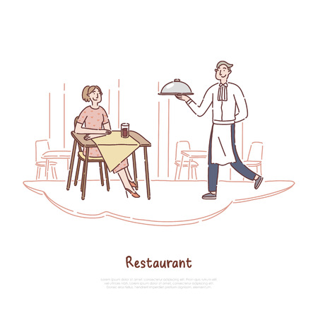 Cheerful man in uniform serving dish, waiter occupation, young woman waiting for order, cafeteria staff, restaurant banner. Exquisite catering service concept cartoon sketch. Flat vector illustration Ilustração