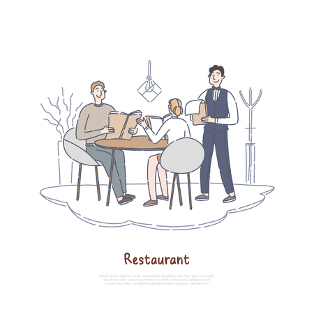 Couple dating in restaurant, boyfriend and girlfriend having dinner in cafe, ordering food, colleagues on break banner. Coffee shop worker, waiter concept cartoon sketch. Flat vector illustration