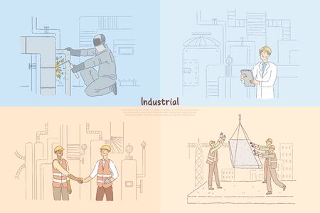 Man welding pipes in factory, constructing engineer checking equipment, construction workers on site banner. Industrial professions cartoon concept sketch. Flat vector illustration Illustration